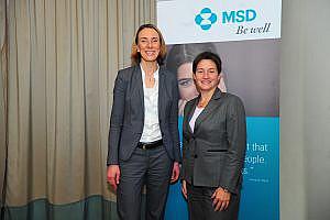 Chantal Friebertshäuser, MA (seit Anfang 2015 Geschäftsführerin von MSD Österreich und Gesundheits- und Sozialstadträtin Mag.a Sonja Wehsely.  (c) Philipp Hutter/MSD